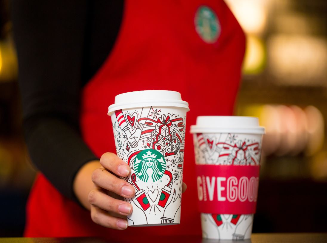 Starbucks Christmas Coffee Cups.Starbucks Holiday Cup Comes With A Message To Give Good
