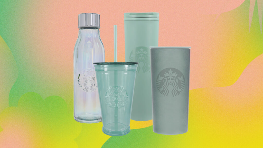collection of drinkware made from recycled