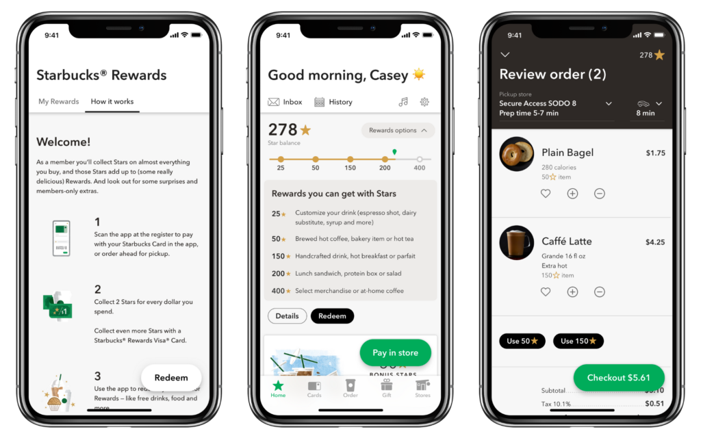 Screenshots of Starbucks Rewards app