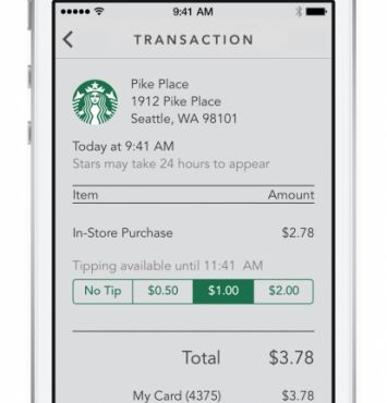 Digital Tipping And Shake To Pay Are New With Starbucks